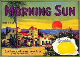 Morning Sun Sunkist Fruit Crate Label Art Print San Fernando Lemon Growers CA - $9.88