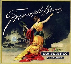 Triumph Brand  Apple Fruit Crate Label Art Print Fay Fruit Co. CA Home decor - $9.87