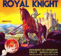 Royal Knight Sunkist Orange Crate Label Art Print Redlands Fruit Coop Redland Ca - $7.47