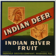 Indian Deer Crate Label Art Print Indian River Fruit .Deerfield Groves Co. FL - $9.89