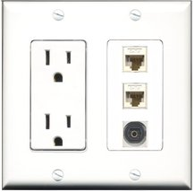 RiteAV - 15 Amp Power Outlet 1 Port Toslink 2 Port Cat6 Ethernet Ethernet Whi... - $29.99