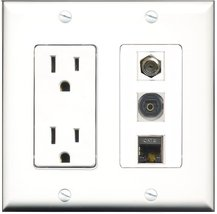RiteAV - 15 Amp Power Outlet 1 Port Coax 1 Port Shielded Cat6 Ethernet E... - $29.99