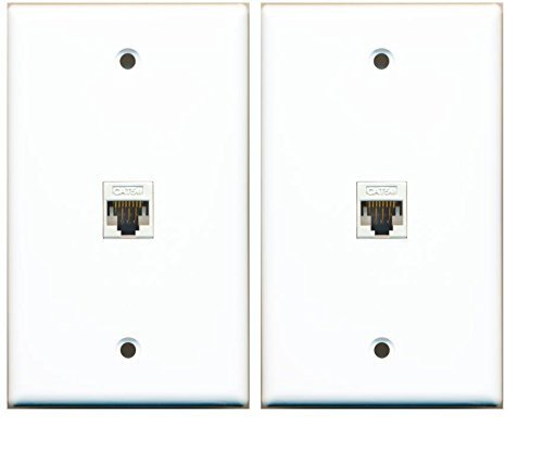 (2 Pack) RiteAV 1 Port Cat5e Rj45 Ethernet Wall Plate White Lot