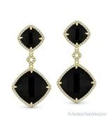Jet Black Onyx & 0.40ct Round Cut Diamond 14k Yellow Gold Dangling Drop ... - $807.83