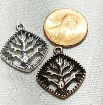 TREE OF LIFE BEADED DIAGONAL SQUARE FINE PEWTER PENDANT CHARM 21x23.5x2.5mm image 2