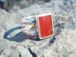 Sterling Silver Square Carnelian Signet Double Band Ring Size 6.5 - $44.55