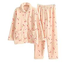 PANDA SUPERSTORE Cute Pink Cherry Coral Fleece Pajama Set for Women, Medium