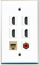 RiteAV - 4 Port HDMI 1 RCA Red 1 Phone RJ11 RJ12 Beige Wall Plate - $26.33