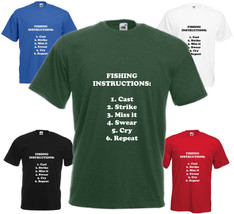 Fishing Instructions T-Shirt Funny Fishing Birthday Gift Mens Womens Top Present - $15.56