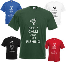 Keep Calm And Go Fishing T Shirt Funny Fisherman Tee Gift Top Fish Xmas Present - $15.56