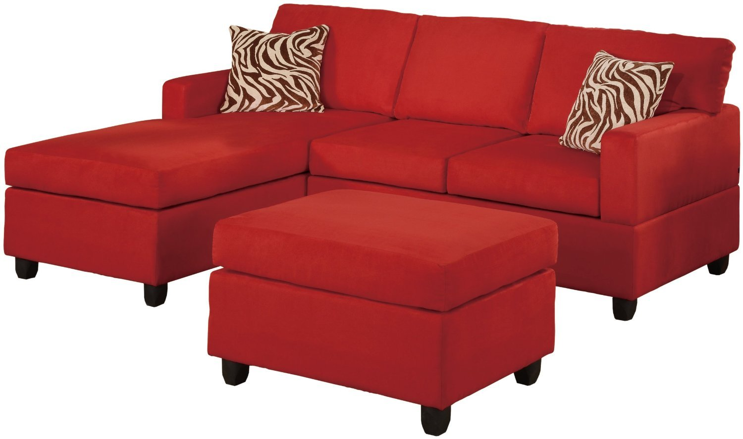 Microfiber sectional sofa set 3 piece red reversible for Chaise lounge couch set