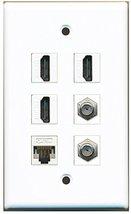 RiteAV - 3 HDMI 2 Port Coax Cable TV- F-Type 1 Port Cat5e Ethernet White... - $26.33