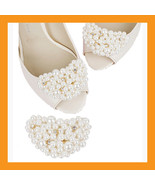 ivory beads shoes corsages wedding shoe white accessory clip heel women ... - $20.50