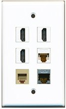 RiteAV - 3 HDMI 1 Port Phone RJ11 RJ12 Beige 1 Port Shielded Cat6 Ethern... - $26.33