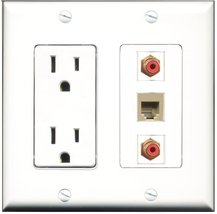 RiteAV - 15 Amp Power Outlet 2 Port RCA Red 1 Port Phone Beige Decora Wa... - $29.99