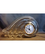 MIKASA Wave CLEARWATER CRYSTAL Mantel Shelf Table CLOCK Quartz GERMANY - $16.00