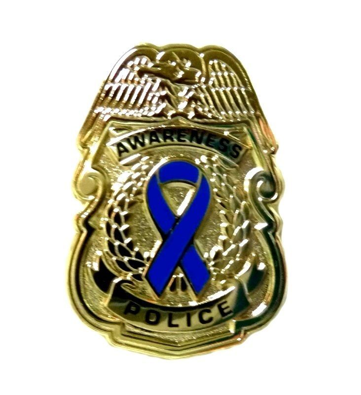 Primary image for Blue Awareness Ribbon Pin Police Badge Security Sheriff Cop Gold Plated New