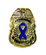 Blue Awareness Ribbon Pin Police Badge Security Sheriff Cop Gold Plated New - $16.97