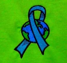 Blue Ribbon Earth T Shirt Medium World Awareness Lime Green S/S Unisex B... - $23.49