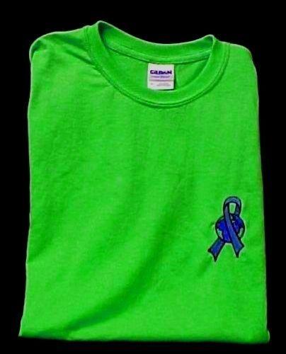 Blue Ribbon Earth T Shirt Medium World Awareness Lime Green S/S Unisex Blend New
