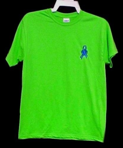 Blue Ribbon Earth T Shirt Small World Awareness Lime Green S/S Unisex Blend New