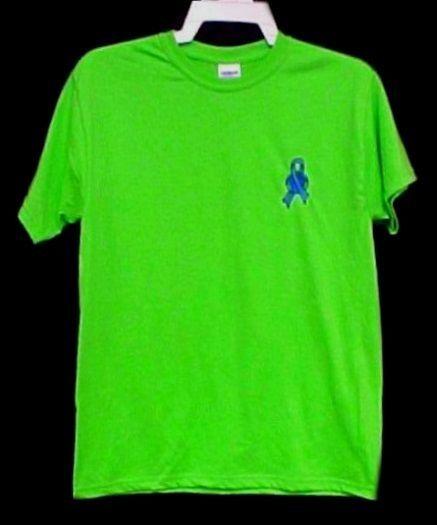 Blue Ribbon Earth T Shirt Large World Awareness Lime Green S/S Unisex Blend New