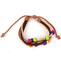 ROPE LEATHER MULTI BEAD BRACELET   HIPPIES???    WE COMBINE SHIPPING - $3.99