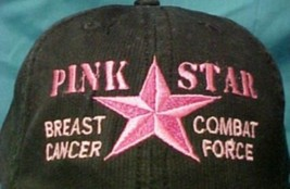 Breast Cancer Awareness Pink Star Combat Black Corded Baseball Hat Unise... - $18.59