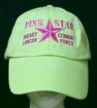 Breast Cancer Awareness Pink Star Combat Lime Baseball Hat Unisex New - $18.59
