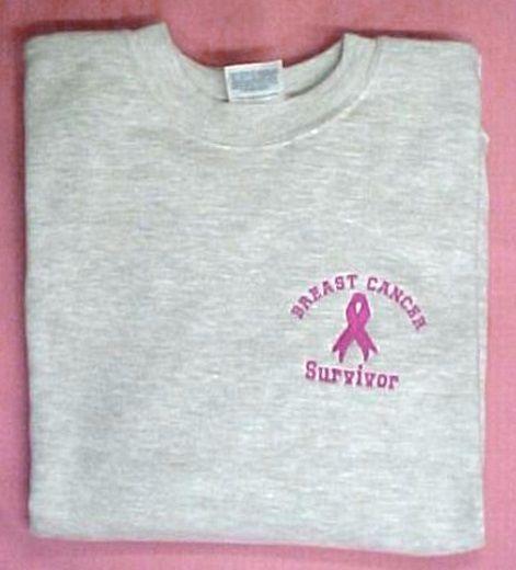 Breast Cancer Sweatshirt Pink Ribbon Survivor 5XL Gray Crew Neck Unisex New