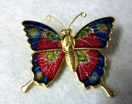Butterfly Gold Tone Multi Colored Colorful Thin Glittery Brooch Pin Vintage - $19.57