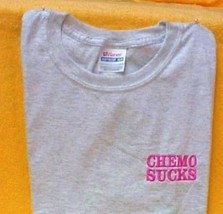 CHEMO SUCKS T Shirt L Pink Embroidery Ash Gray S/S Crew Neck Unisex Blend New image 4