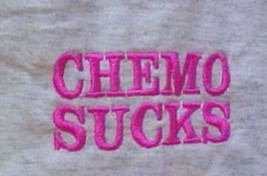 CHEMO SUCKS T Shirt L Pink Embroidery Ash Gray S/S Crew Neck Unisex Blend New image 3