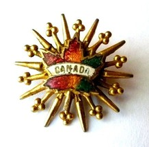 Canada Canadian Maple Leaf Starburst Gold Tone Unmarked Brooch Pin Vintage image 1