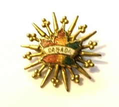 Canada Canadian Maple Leaf Starburst Gold Tone Unmarked Brooch Pin Vintage image 2