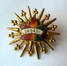 Canada Canadian Maple Leaf Starburst Gold Tone Unmarked Brooch Pin Vintage image 5