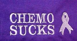 Cancer Awareness T-Shirt Small Chemo Sucks Purple L/S Lilac Ribbon Unise... - $23.25