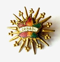 Canada Canadian Maple Leaf Starburst Gold Tone Unmarked Brooch Pin Vintage image 10