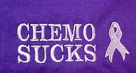 Cancer Awareness T-Shirt 2XL Chemo Sucks Purple L/S Lilac Ribbon Unisex New - $25.19