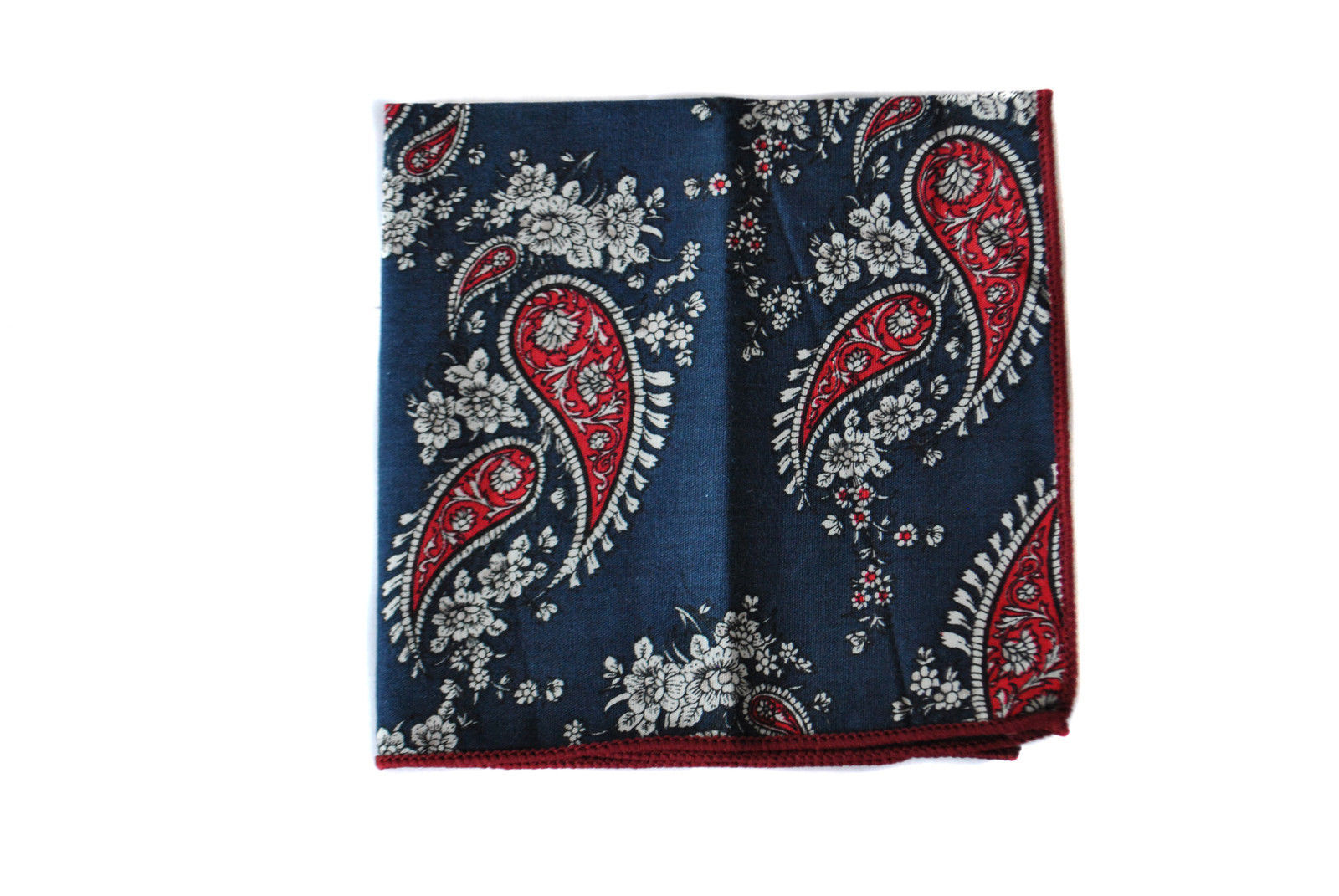 Frederick Thomas navy blue paisley pocket square handkerchief FT2139
