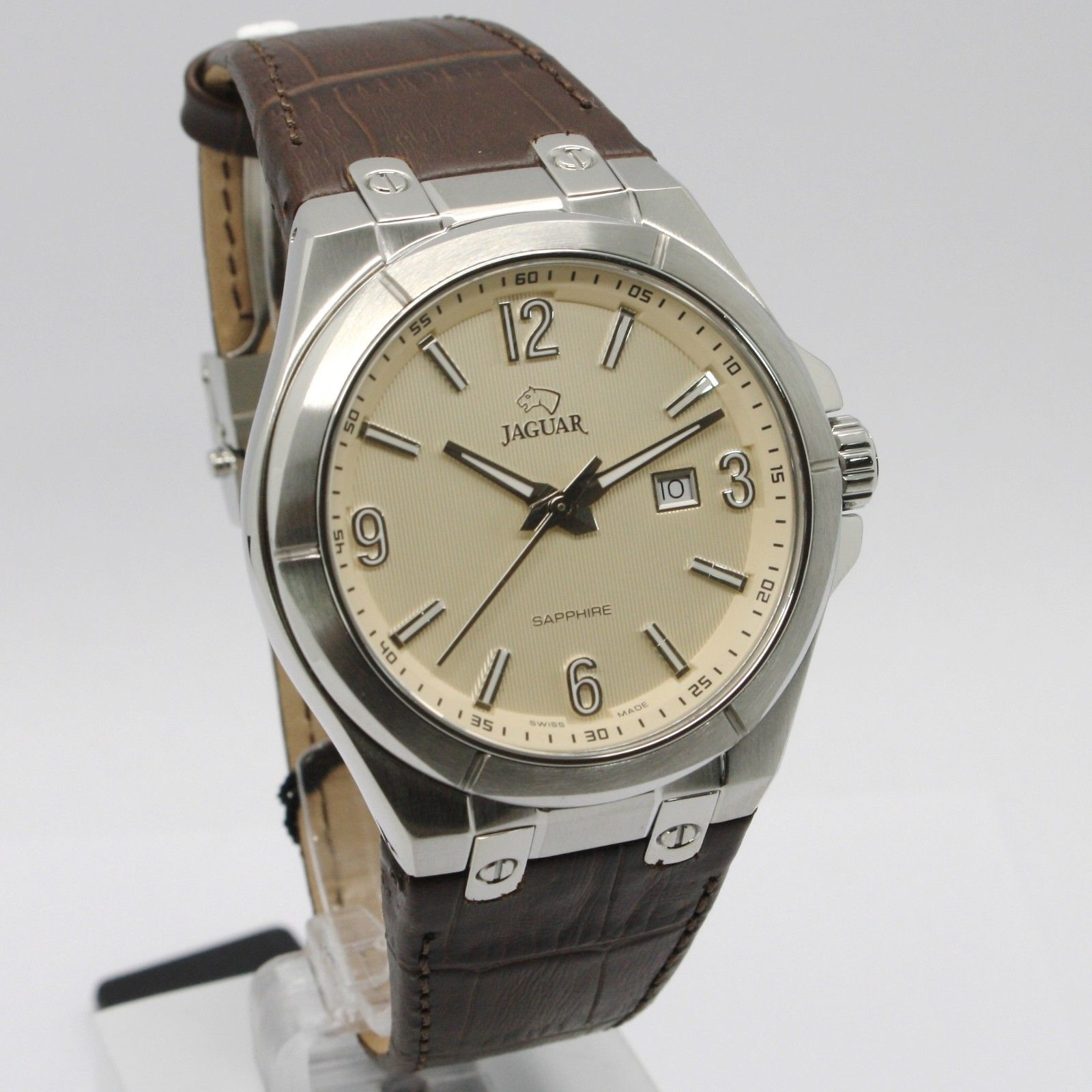 JAGUAR WATCH, SWISS MADE, SAPPHIRE CRYSTAL, 44 MM CASE, BEIGE, BROWN WITH DATE