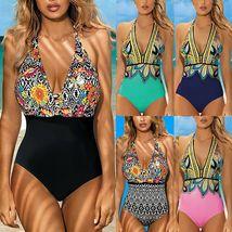 Women's Designer V- Neck Tummy Control Halter One Piece Swimsuit image 2