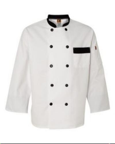 Chef Designs KT74 White Garnish Chef Coat Jacket Plastic Buttons Medium New