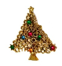 Christmas Tree Holiday Red Green Blue Rhinestones Gold Plated Brooch Pin... - $14.67