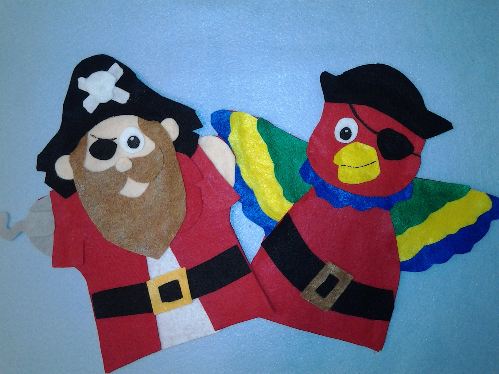Pirate and Parrot Hand Puppets