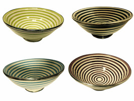 Moroccan Glazed Terracotta & Silver Alloy Trim Pasta Soup Swirled Bowl S... - $25.19
