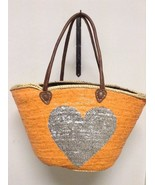 French Market Basket Sparkling Sequin Leather Straw Tote Bag Heart Orang... - $44.54