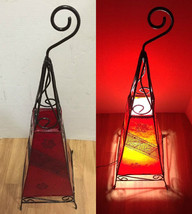 Moroccan Red & Black Henna Goat Leather Floor Lamp Wrought iron Eclectic... - $99.00