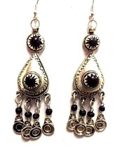 Vintage Moroccan Berber Queen Tribal Metalwork & Black Stones Pendant Ea... - $19.70