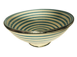 Moroccan Hand made Ceramic Bowl Silver Metal Trim Turquoise White Stripe... - $491,71 MXN